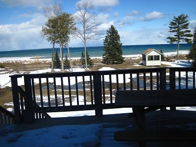 View of Lake Michigan from deck (including beach house)