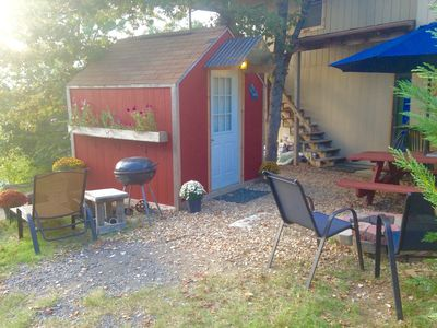 "Photo for ""Micro"" Tiny Cottage @ Cedar View Cabins, Hot Tub, Sauna, Lake Tenkiller Sunsets"