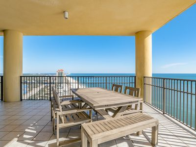 Photo for Stunning east corner 4 bedroom/4.5 bath gulf front condo! Lazy river, slides!