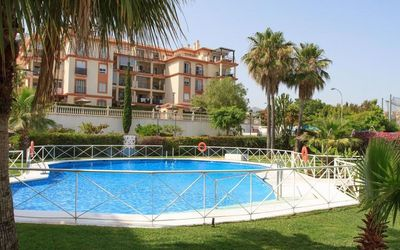 Photo for Air-Conditioned Apartment Close to Beach with Pool, Balcony, Garden & Wi-Fi; Parking Available