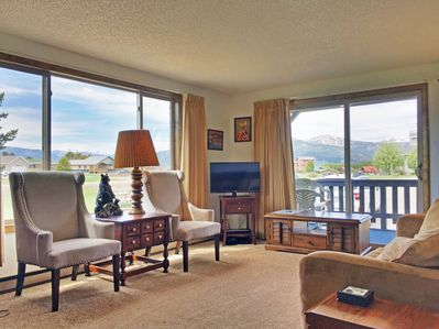 Comfy furniture in the living room, high def TV, deck w/BBQ and awesome views!