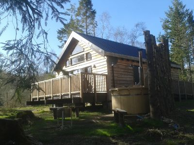 Photo for BURNSIDE is a charming, Well Equipped Log Cabin In Stunning Location.
