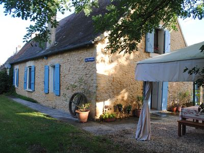 Photo for New!  Stone cottage and barn, large pool, 1 km from Tremolat. Great for families