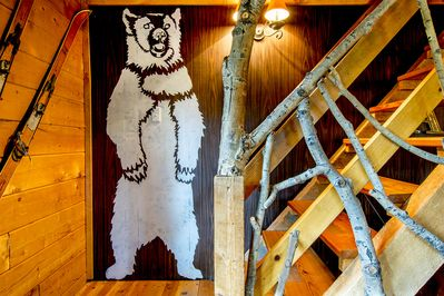 Our 9 foot stenciled white bear has a black twin at the Ace Hotel in New York!
