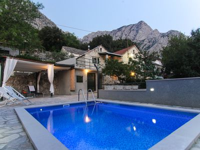 Photo for NEW! Stone house with heated pool, terrace and sea view,