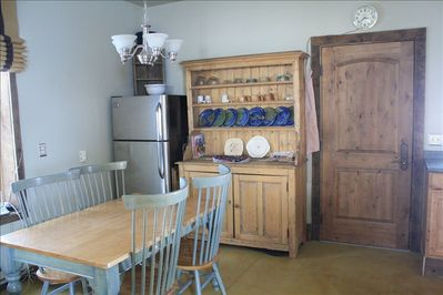 Our cozy cabin has a nice sized fridge for all your goodies and a chef's kitchen