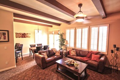 Gathering-friendly living room and dining area.