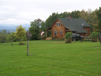Photo for Cozy Log Cabin with views near Jay and Newport