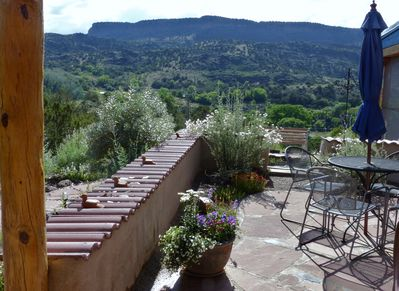 Lovely patio for grilling. This is a view to the east-facing canyon rim.