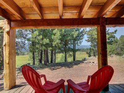 Photo for Secluded mountain view family cabin w/ deck, firepit, gas fireplace & more!