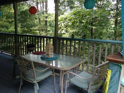 One seating area on 90 foot front porch