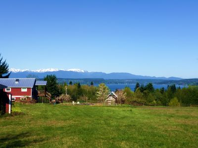 Overview of the Barn with a View; view of Hood Canal and Olympic mountains