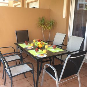 Shaded terrace dining area