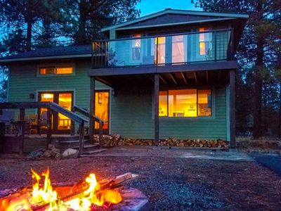 Photo for Riverfront Cabin backs to Nat'l Forest, near Sunriver w/Hot Tub, Fire Pit, Kayaks and Pet Friendly.