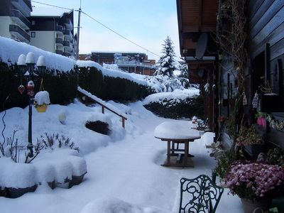 Our chalet in winter   with Telecabine 100meters in the background