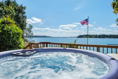 View of Oro Bay from the hot tub on lower deck.