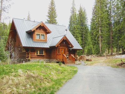 Photo for Real Mountain Getaway! Log Cabin in the woods! 2 bedrooms+Loft/ bathrooms.