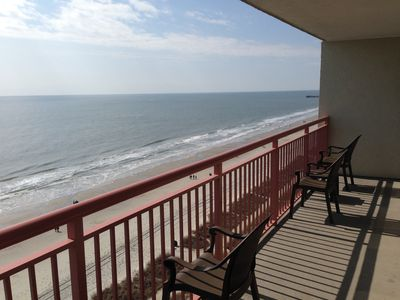 Large oceanfront balcony looking south