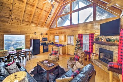 Revel in the holiday decor, vaulted ceilings, and rustic wood paneling.