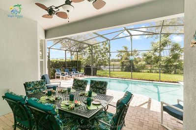 Pool Dining - Covered Lanai overlooking private pool and lake view