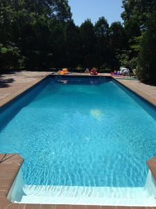 Heated 40ft saline pool and deck in separate secure fenced area with allday  sun