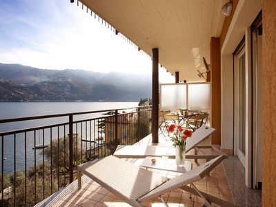 Photo for Laglio Ribolla Azzuro Stylish Modern Apartment with lake view and pool.