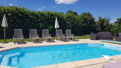 Heated Pool & Terrace Area, with amazing views of the Janaillat countryside.