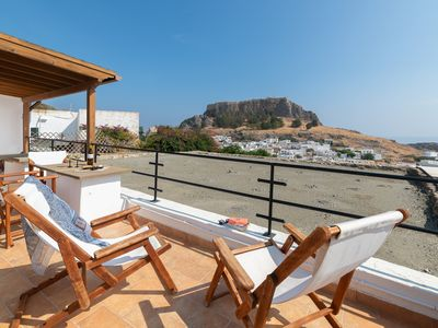Photo for Villa Valasia, Lindos ,3 Bedroom Villa with Roof Terrace, Acropolis and Seaview