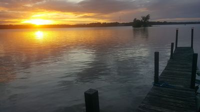 Sunset from our private dock. Dock has been renovated.