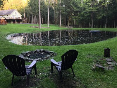Relax at the stream and fire pit.
