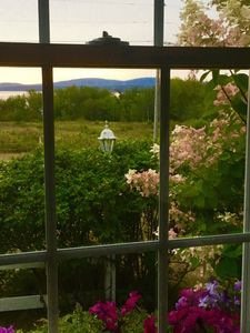 Overlooking perennial gardens and mountains of Acadia