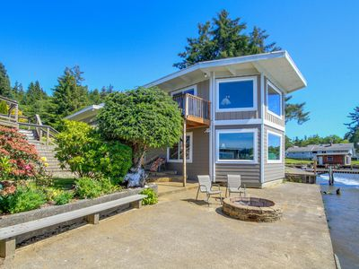 Photo for Dog-friendly home + guest cottage w/ private hot tub, deck, & lakefront views