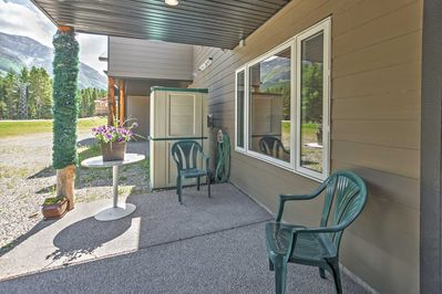 Share stories and laughs with loved ones on the private furnished porch.