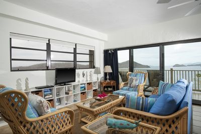 Enjoy the  beautiful water and island views while relaxing in the living area.