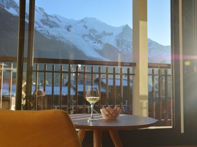 Photo for Beautiful sunny apartment facing the Mont-Blanc
