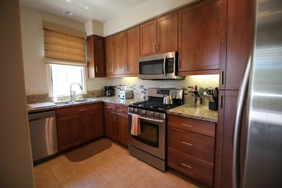 All new appliances and woodwork in our renovated and fully-equipped kitchen.