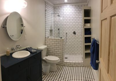 Hall bathroom with tiled open-concept shower