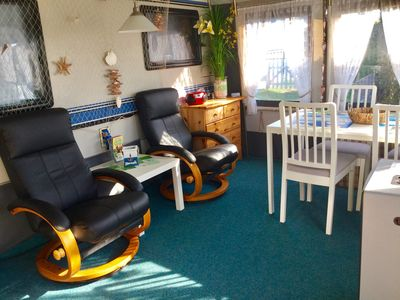 Photo for Great cozy caravan, only 350 meters from the sea, incl. Beach chair.