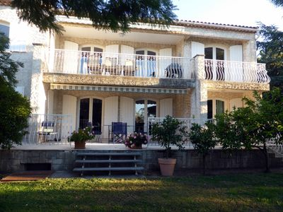 Photo for Villa with garden and private pool, very quiet, 5 minutes from the beach