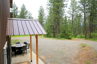 Home overlooks at pine tree forest, very large parking space.
