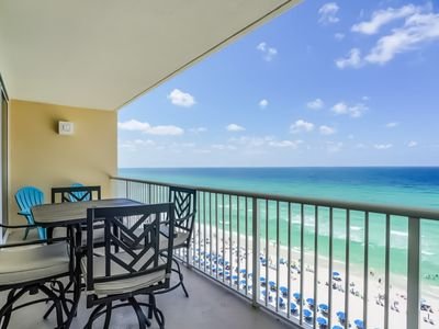 Photo for Beachfront condo on 10th floor w/shared pools (4), hot tub, tennis - great views