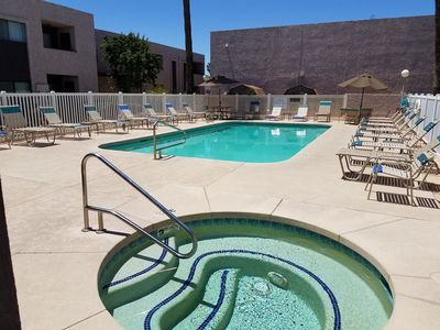 Hot Tub and large Year Round Heated Pool.  Plenty of space.  Never crowded.