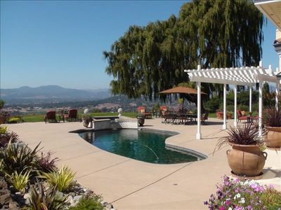 Pool & Spa overlooking park, creek, our private 3 acre vineyard and City of Napa