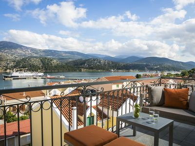Photo for Fantastic luxury apartment overlooking the Argostoli marina.