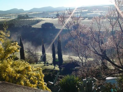 view across the valley in early morning