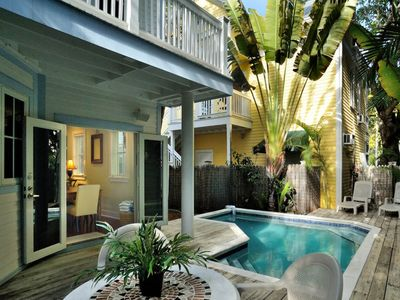 Photo for Dog-friendly home w/ private pool - walk to the beach and restaurants!