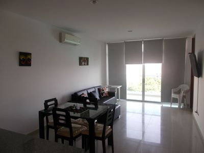 Photo for 65 m2 apartment with two bedrooms, two bathrooms, lounge with pay TV, kitchen,