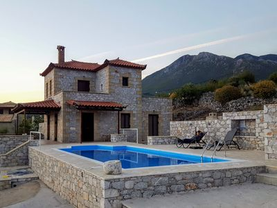 Photo for Villa Arsinoi in Stoupa, private pool, breathtaking sea views, very quiet area.