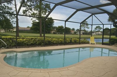 Private heated pool w/view of Hole 2 of Spanish Wells East Course