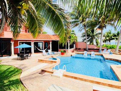 Photo for Exquisite beachfront hacienda, old world charm mixed with modern amenities